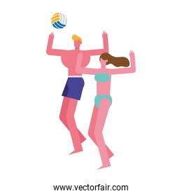 young couple wearing swimsuits playing volleyball characters