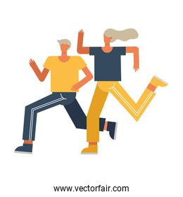 young couple running sport characters