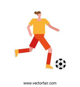 young woman playing soccer character