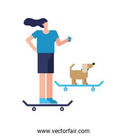 young woman and dog in skateboards practicing activity character