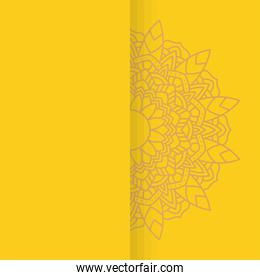 decorative floral mandala with yellow background