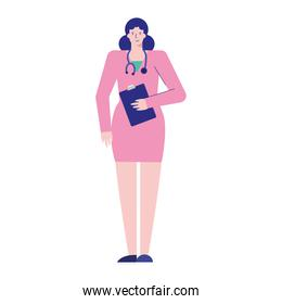 professional female doctor with checklist avatar character