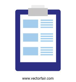 blue and white colors checklist clipboard document isolated icon