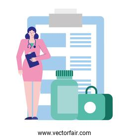 professional female doctor with checklist and drugs avatar character
