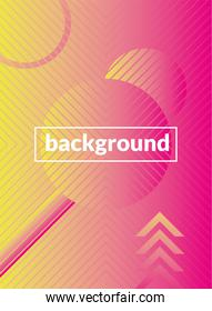 geometric figures and lines pink background