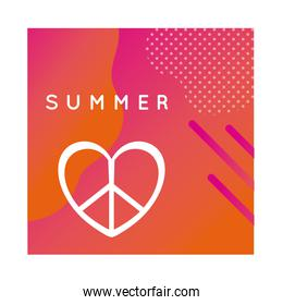 summer colorful banner with lettering and heart symbol