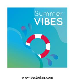 summer vibes colorful banner with lifeguard float