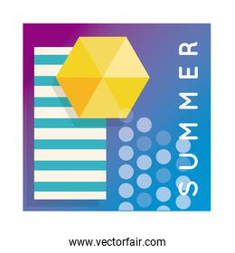 summer colorful banner with lettering and umbrella