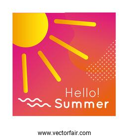hello summer colorful banner with sun
