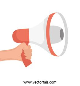 hand with megaphone sound device isolated icon