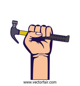 hand with hammer tool equipment isolated icon