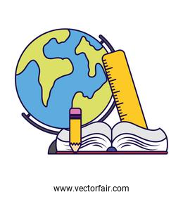 world planet earth with book and supplies school