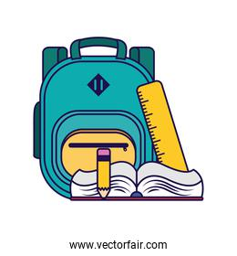 school bag equipment with book and rule