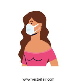 young woman wearing medical mask character
