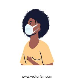afro young woman wearing medical mask character