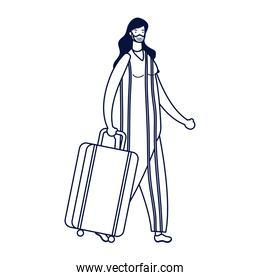 young woman wearing medical mask with suitcase character