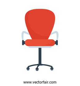 office chair furniture of red color isolated icon