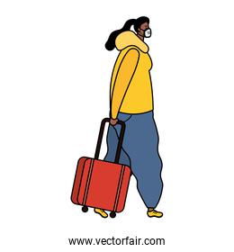 afro young woman wearing medical mask with suitcase character