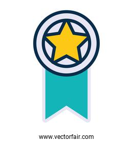 star medal icon, line and fill style