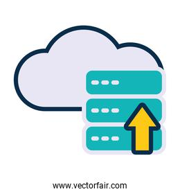 cloud and data servers with upload arrow icon, line and fill style