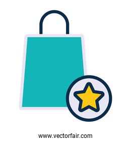 shopping bag and star medal icon, line and fill style
