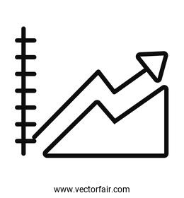 ascending graphic chart icon, line style