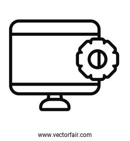 computer with gear wheel icon, line style