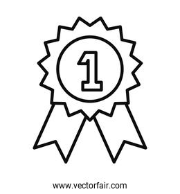 number one seal stamp line style icon vector design
