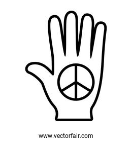 hand with love and peace symbol line style icon vector design