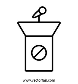podium with stop ban line style icon vector design
