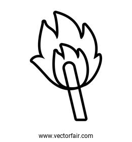 match with flame line style icon vector design