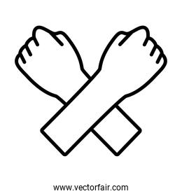 fist hands line style icon vector design