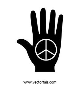 hand with love and peace symbol silhouette style icon vector design