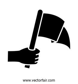 hand holding flag silhouette style icon vector design