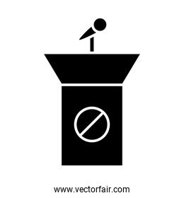 podium with stop ban silhouette style icon vector design