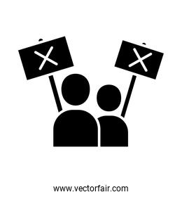 people avatars with banner boards in protest silhouette style icon vector design