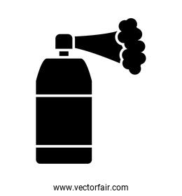 spray bottle with smoke silhouette style icon vector design