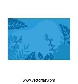 Summer blue banner with leaves vector design