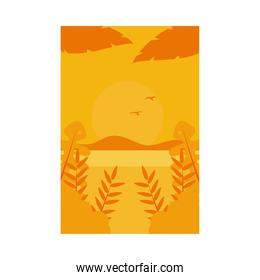 Summer orange banner with island and leaves vector design