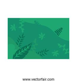Summer green banner with leaves vector design