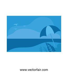 Summer blue banner with leaves and umbrella at beach vector design