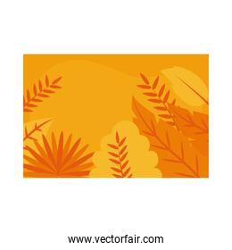 Summer orange banner with tropical leaves