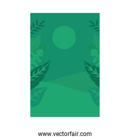 Summer green banner with leaves and sun vector design