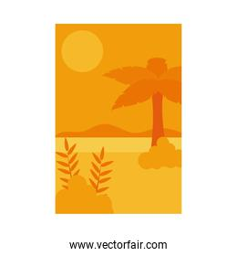 Summer orange banner with palm tree at beach and leaves