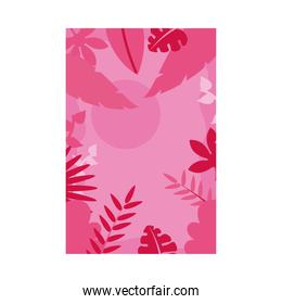Summer pink banner with leaves and sun vector design