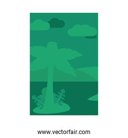 Summer green banner with palm tree at beach vector design