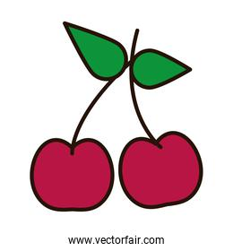 cherry fruit line and fill style icon vector design