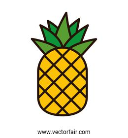 pineapple fruit line and fill style icon vector design