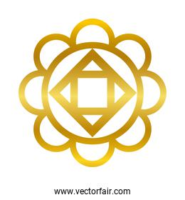 flower round shaped ornament gold gradient style icon vector design