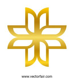 flower ornament gold gradient style icon vector design